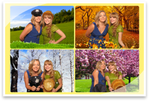 Many Coordinated Green Screen photo booth overlays to choose from