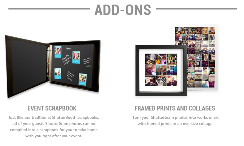 Add-ons, Event Scrapbook, Framed prints collages